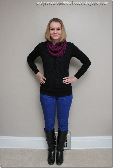blue skinnies, black cardigan, fuschia cowl
