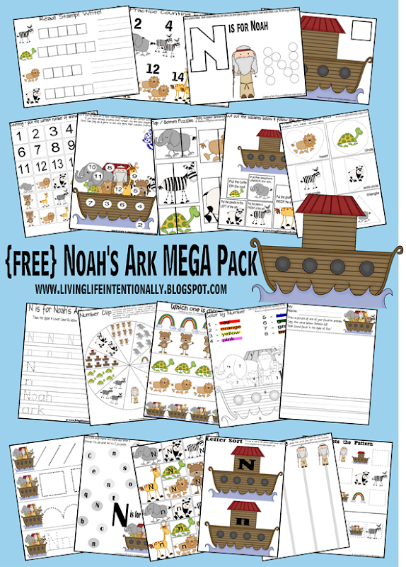 FREE Noah's Ark Worksheets #preschool #worksheets #bible