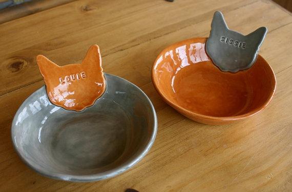 Personalized Kitty Cat Bowls by Sunshine Ceramics