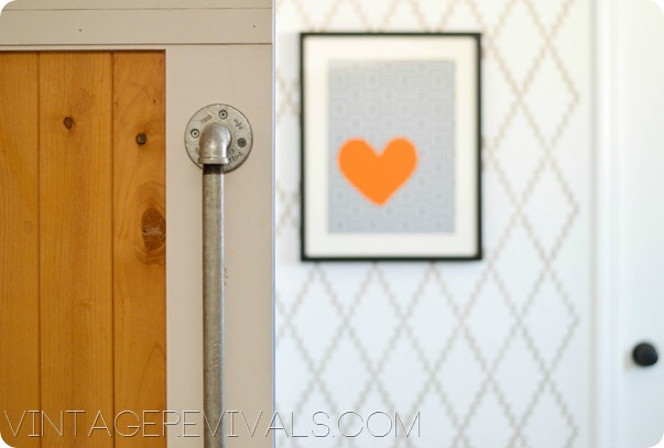 Sliding Door Stenciled Wall Heart Art vintagerevivals.com