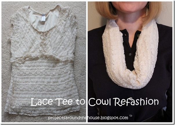 Lace Tee to Cowl Refashion