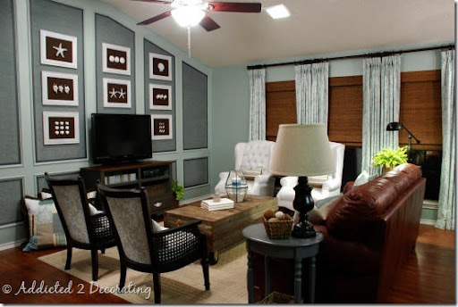 The Oak Paneled Wall Was Painted And Covered In A Pretty Chenille Fabric,  Then U201cframedu201d In A Pewter Colored Grosgrain Ribbon. All Of The Leather  Furniture, ...