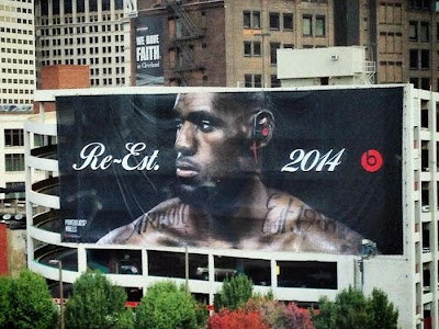 2014 cleveland beats banner LeBron Already Has Two Huge Billboards in Cleveland
