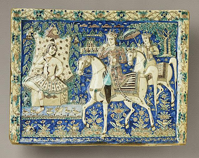 Tile | Origin: Iran, Tehran | Period:  19th century | Collection: Herbert R. Cole Collection (M.84.31.22) | Type: Ceramic; Architectural element, Fritware, molded, underglaze-painted, 15 1/4 x 20 1/4 in. (38.7 x 51.4 cm)