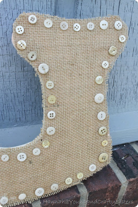 burlap and button monogrammed letter7