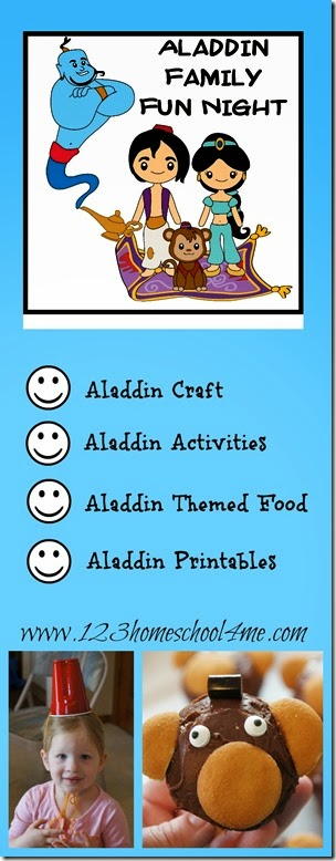 Disney Aladdin Family Fun Night with Aladdin craft, Aladdin Kids Activities, and Aladdin food
