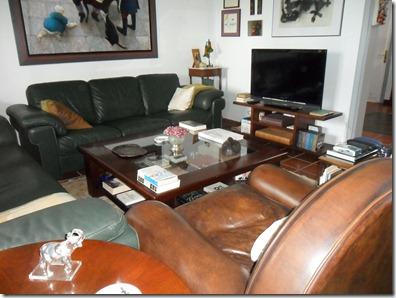 su sofá de piel marrón