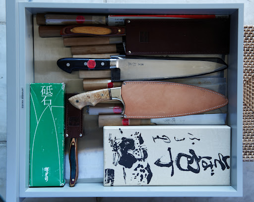 Martha collects Japanese knives, which she stacks neatly in their own dedicated drawer.
