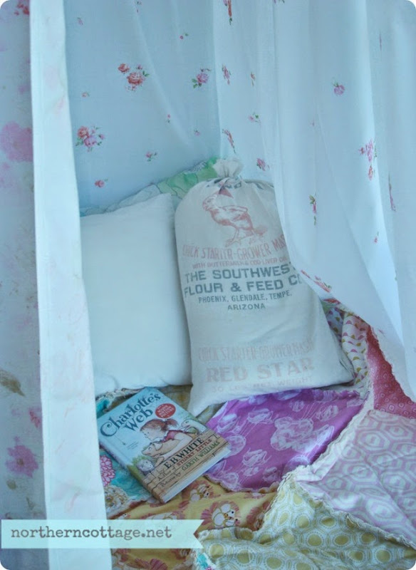 Sweet Vintage Sheet Canopy {NorthernCottage}