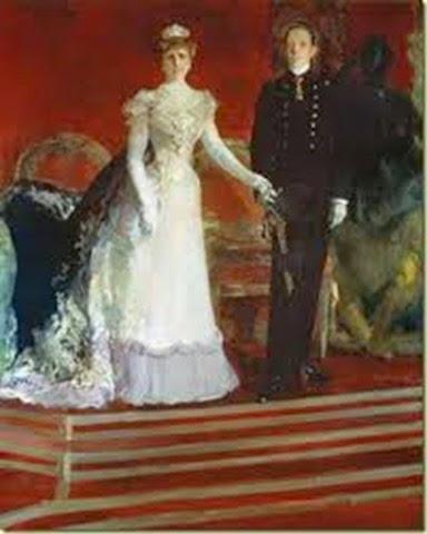 lfonso XIII con su madre, pintados por Joaquin Sorolla Bastid