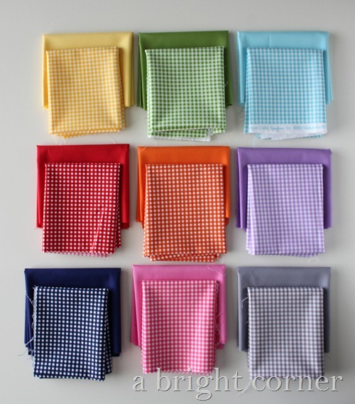 Gingham fabric stacks - gorgeous colors!