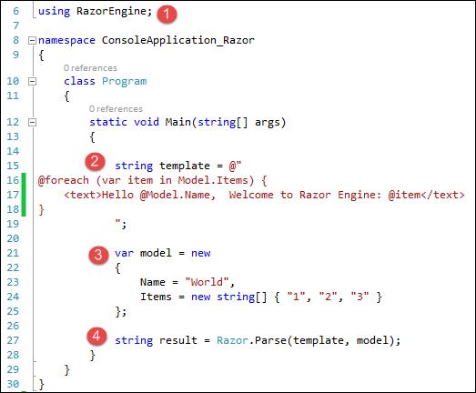 RazorEngine Syntax