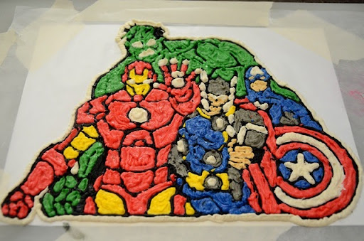 Smile Like You Mean it Avengers Birthday Cake using Frozen