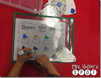 This center can be done a few different ways. We are working on how many you need to make ten. You can also just have the students write what the number says