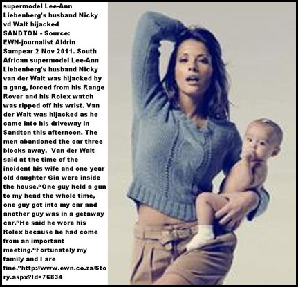 Liebenberg Lee Ann supermodel South Africa with baby girl Gia husband attacked outside their house Nov 2 2011