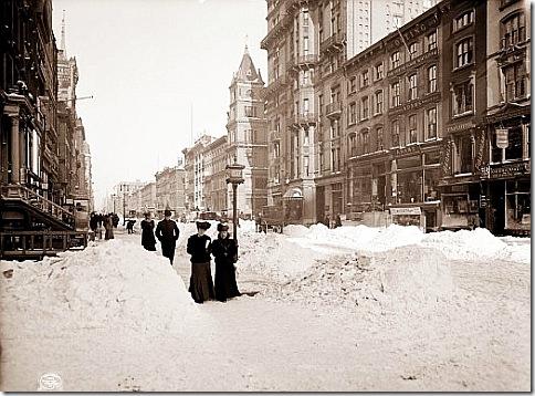 Снег в Нью-Йорке в 1905 году