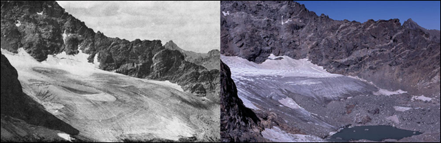 Arapaho Glacier, Colorado Left: 1898. Right: 2003. This pair of photographs shows the retreat of the Arapaho Glacier in the Colorado Rocky Mountains between 1898 and 2003. The Arapaho is an alpine glacier that contributes to sea level rise through melting. 1898 picture taken by R.S. Brackett; published in 1964 in 'A Sixty Year Record' by H.A. Waldrop, University of Colorado Studies, Series in Geology. 2003 photo taken by Tad Pfeffer. Images courtesy of Tad Pfeffer, Institute of Arctic and Alpine Research, University of Colorado