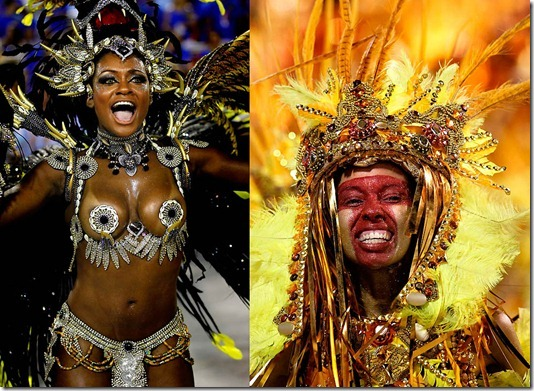 Dancers from the Beija Flor samba school perform at the Sambadrome in Rio de Janeiro. (Silvia Izquierdo/Associated Press)