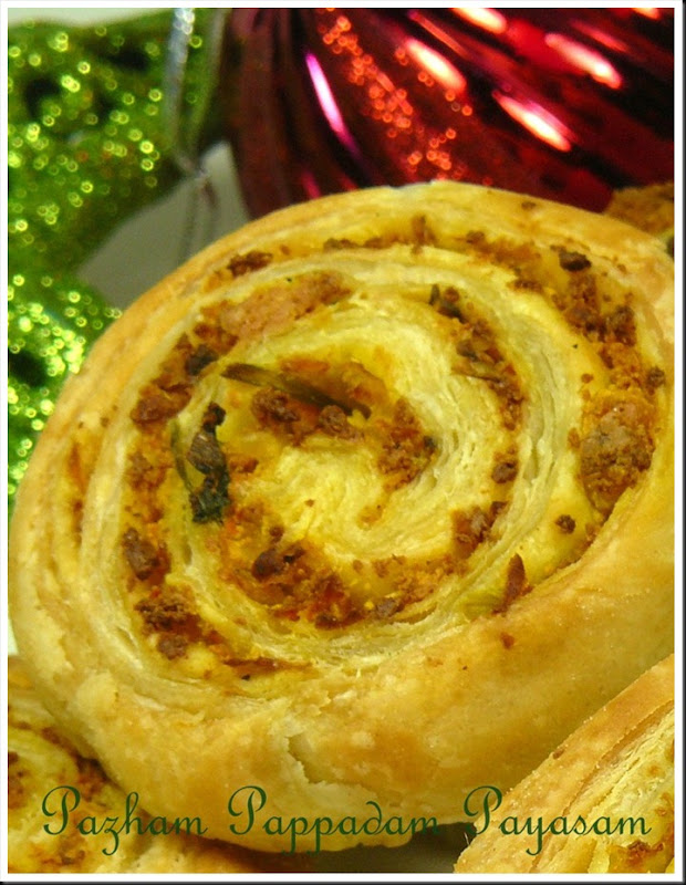 Vegetable and paneer pinwheels