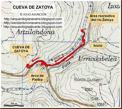 Mapa ruta Cueva de Zatoya