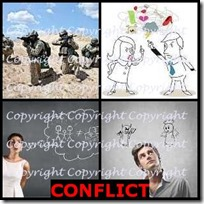 CONFLICT- 4 Pics 1 Word Answers 3 Letters