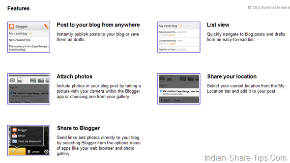 features of official app for blogger for iphone and android device