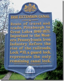 Second Erie Extension Canal marker in park in Sharpsville, PA