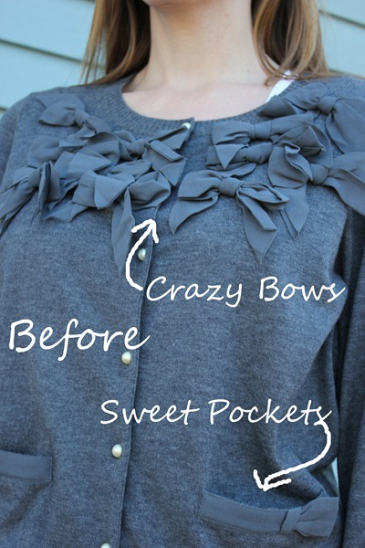 crazy bow sweater refashion
