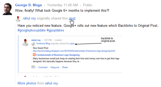 Google Plus sharing backlinks