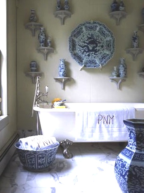 blue and white porcelain decorates a dramatic chinoiserie bathroom