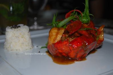 Sauteed whole Main lobster, Asian pepper sauce