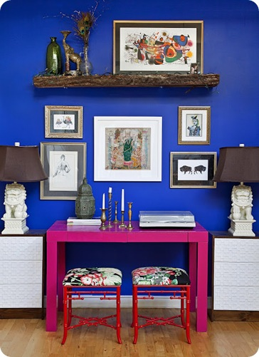 blue wall pink parsons desk ikea rast cabinet foo dog lamp design manifest