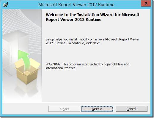 Installing Microsoft Report Viewer 2012 Runtime.