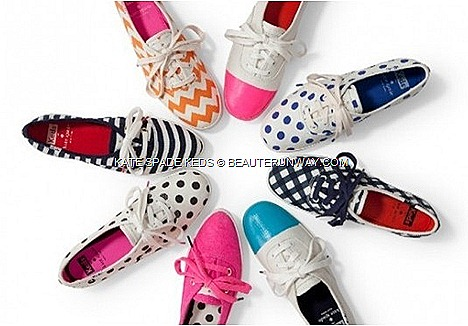 KATE SPADE KEDS SNEAKERS NEW YORK –20th ANNIVERSARY Champion sneakers footwear classic American heritage polka dots chevron nautical navy gingham printed canvas, black cream pavillion dot , raspberry rosecream dipped canvas, checker