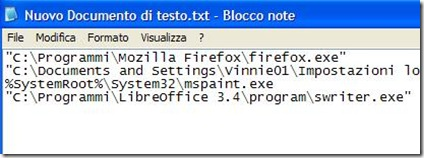 Blocco note sequenza dei programmi da aprire insieme con un clic