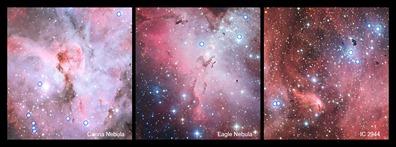 estrelas quentes e brilhantes do tipo O em regiões de formação estelar