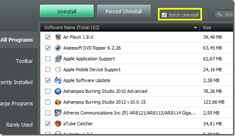 IObit Uninstaller 2 modalità Batch Uninstall
