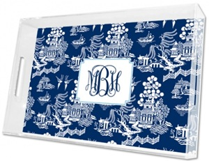 personalized blue and white chinoiserie tray