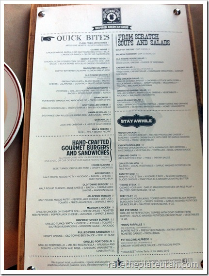 Old Towne Grill Menu