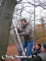 De boswachter helpen met nestkastjes ophangen (2)