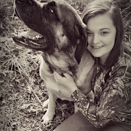 A Girl and Her Dog by Cassie Waggoner - Animals - Dogs Portraits ( love, huge, fluffy, adorable, big, smile )