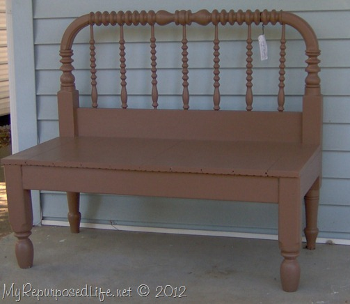 brown spool bed bench