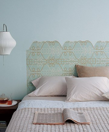 Love a bold print but are too afraid cover your room in it? Use a piece to create a custom headboard. You'll get the pattern you crave and save on the cost (and bulk) of a traditional bed frame.