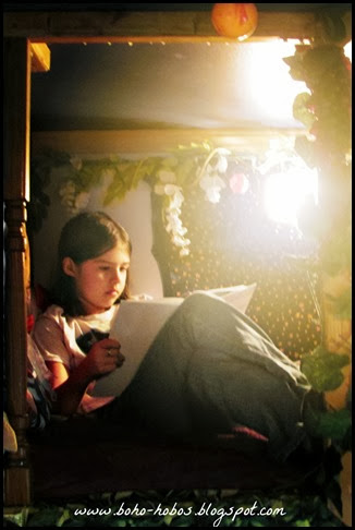 boho girl reading nook