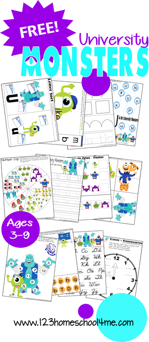 FREE Monsters Inc worksheets for kids. Practice writing, lettesr, numbers, counting, and so much more for preschool, kindergarten, 1st grade, 2nd grade, 3rd grade