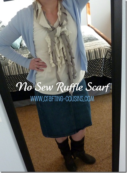 no sew ruffle scarf caption