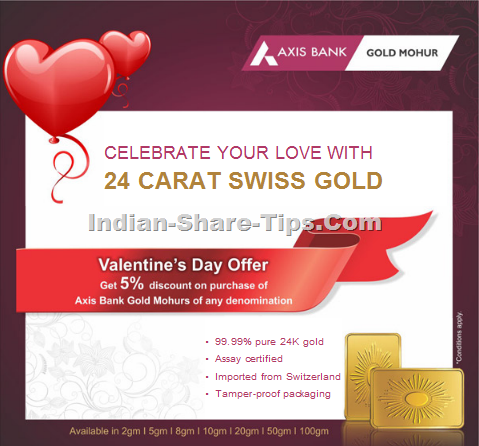 Axis bank 5% discount on gold mohurs