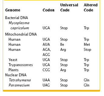 exceptions to universal genetic code