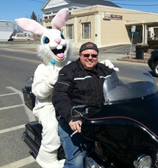 Tommy and the Easter Bunny on his Harley 3.30.2013