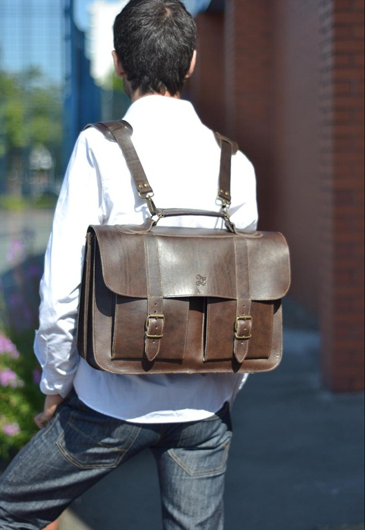Brown Leather School Satchel, £150, Grafea